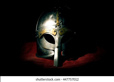 Viking helmet isolated on background a red material