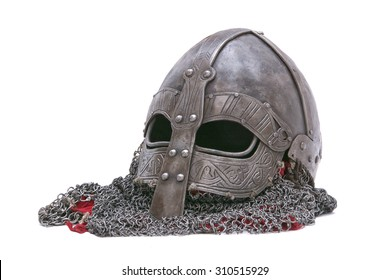 Viking helmet isolated on a white background