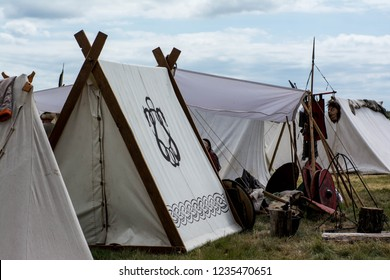 Viking historical camp with fabric tent