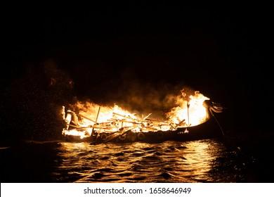 Viking longship burning at Up Helly AA Shetland