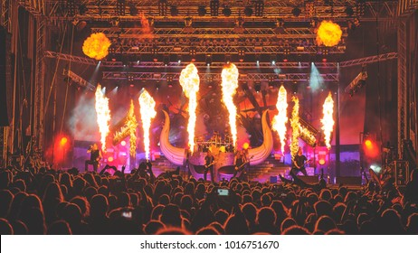 Viking metal band Amon Amarth performing at Metaldays Festival with stage pyrotechnics on July 25th, 2017 in Tolmin, Slovenia