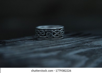viking runes on a silver ring