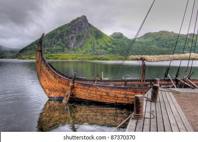Viking ship anchored at the harbour - Lofoten Islands