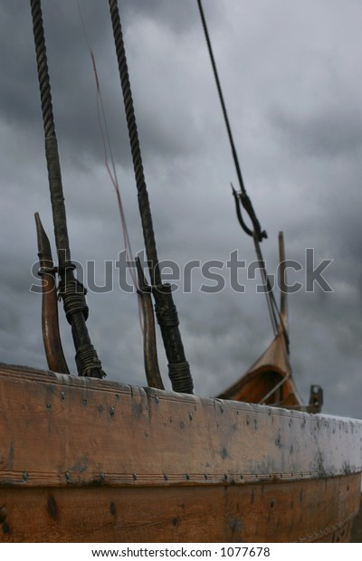 Viking ship caught in a storm