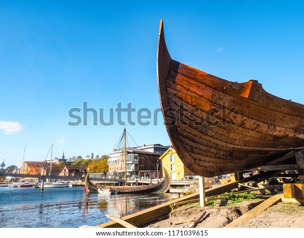 Viking ship at closeup in the oldest cuty of Norway, Tønsberg. Klåstadskipet, Saga Farmann, will soon be on its way to the Blacksea