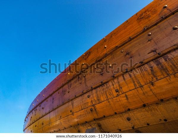 Viking ship at closeup in the oldest cuty of Norway, Tønsberg. Klåstadskipet, Saga Farmann, will soon be on its way to the Blacksea