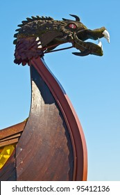 Viking ship - drakkar. Bow close-up