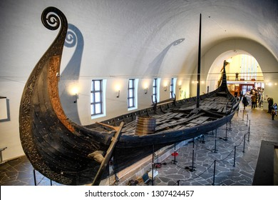 Viking ship (drakkar) in vikings museum in Oslo, Norway. 28-01-2019