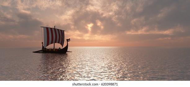 Viking ship at dusk Computer generated 3D illustration