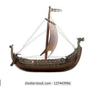 Viking Ship isolated on white background
