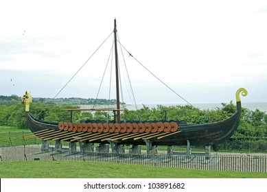 Viking Ship Replica, Pegwell Bay, Thanet, Kent, UK