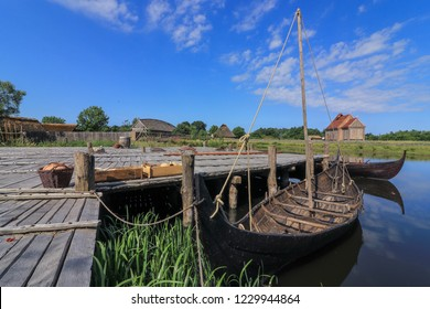 viking ships at the ancient harbor of Ribe, viking settlement, vikings, Denmark