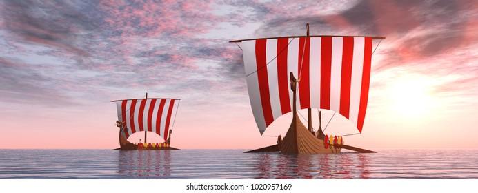Viking ships at sunrise Computer generated 3D illustration