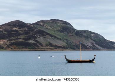 viking style boat in Scotland