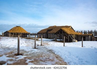 Viking town under Vesturhorn mountain