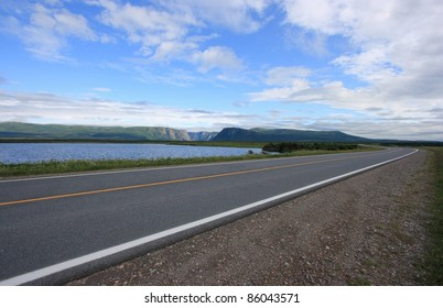 The Viking Trail, or Highway 430, at Western Brook Pond in Gros Morne National Park, Newfoundland, Canada.