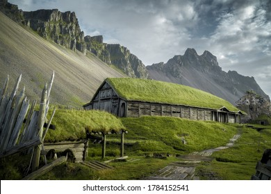 Viking Village near Vestrahorn mountain at Stokksnes headland coast in East Iceland - Shutterstock ID 1784152541