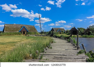 viking village with viking ship at the ancient harbor of Bork, viking settlement, vikings, Denmark