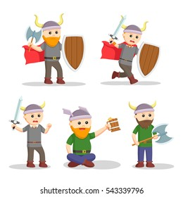 viking warrior set illustration design