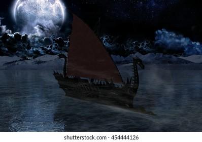 Viking warship at moonlight - 3D rendering