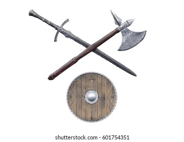 viking weapons isolated on white background