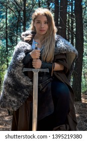 Viking woman sword warrior cosplay blond beauty celtic