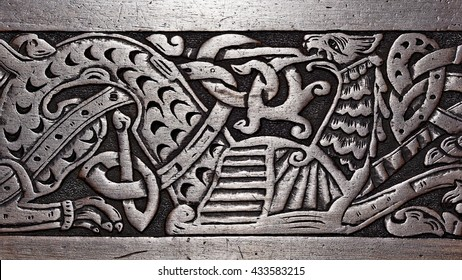 Viking wood carving of a Griffin