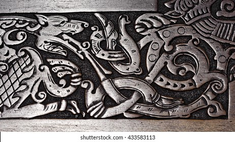 Viking wood carving of a wolf