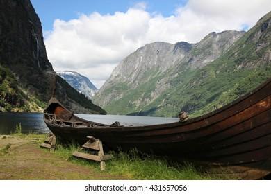 vikings boat in Gudvangen in Norway