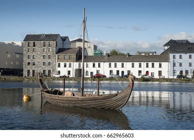 Vikings boat on the Claddagh, the most scenic part of Galway.
