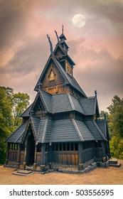 Viking's Church under the Moon