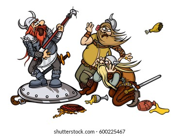 Vikings music. Illustration cartoon vikings with a musician instrument and food in front of them
