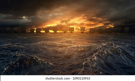 Vikings ships on the horizon of stormy ocean. Mysterious atmosphere under the shining sky. 3D render illustration.