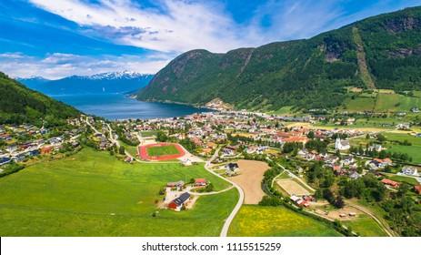 Vikoyri. Administrative center of the municipality of Vik in Sogn og Fjordane county, Norway.