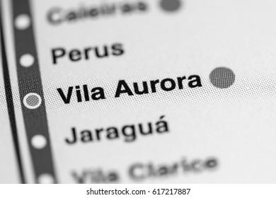 Vila Aurora Station. Sao Paolo Metro map.