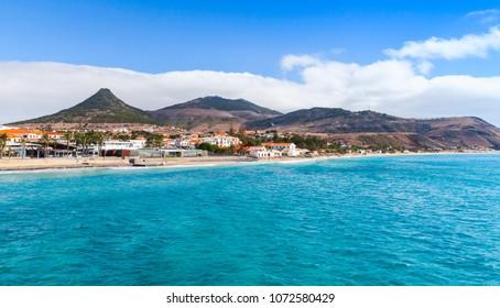Vila Baleira town. Coastal landscape of Porto Santo island in Madeira archipelago, Portugal