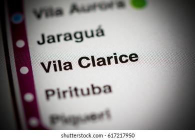 Vila Clarice Station. Sao Paolo Metro map.