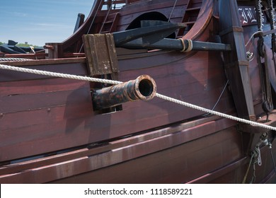 Vila do Conde, Portugal - June 19th 2018: Cannon on old 16th century Portuguese sailing ship replica of the type used during the age of discovery in Vila do Conde, Porto, Portugal.