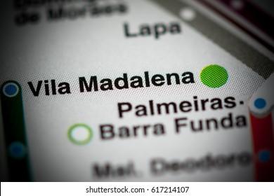 Vila Madalena Station. Sao Paolo Metro map.