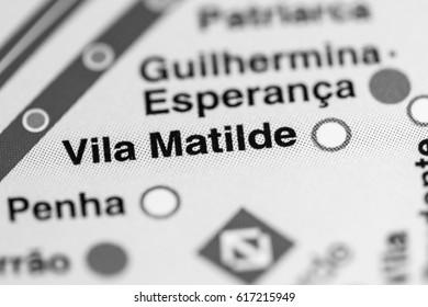 Vila Matilde Station. Sao Paolo Metro map.