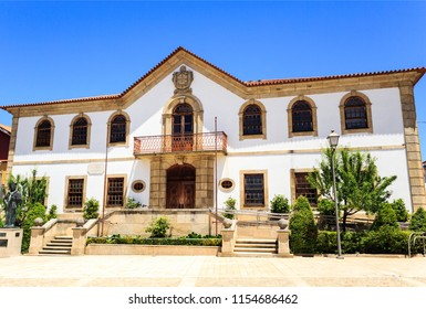 VILA NOVA DE FOZ COA, PORTUGAL – June 19, 2018:  Facade of the City Hall, a nineteenth century baroque building in the town of Vila Nova de Foz Coa, Portugal