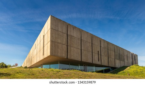 Vila Nova de Foz Coa, Portugal - March 9, 2019: External perspective of the Coa museum. A museum dedicated to rock art in the Côa Valley. Designed by the architects Tiago Pimentel and Camilo Rebelo.