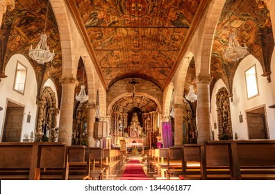 Vila Nova de Foz Coa, Portugal - March 9, 2019: Interior of the mother church. Ordered to be built by D. Manuel I of Portugal in praise of Our Lady of Mercy. Is of pure Renaissance architecture.