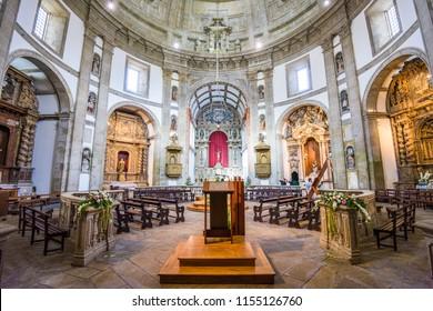 VILA NOVA DE GAIA, PORTUGAL - OCTOBER 16, 2014: Interior of Mosteiro da Serra do Pilar. The 16th century monastery belonged to the Order of Saint Augustine and is a UNESCO World Heritage Site.