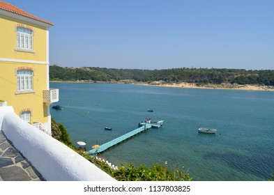 Vila Nova de Milfontes, Alentejo, Portugal - View to Mira river with Furnas Beach on the other margin