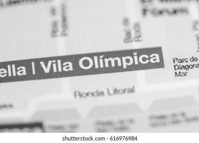 Vila Olimpica Station. Barcelona Metro map.