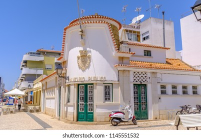 VILA REAL DE SANTO ANTONIO, PORTUGAL - July 23 2018. The impressive historic facade of the once public baths in this pretty Algarve town situated next to the Guadiana River.