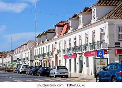 VILA REAL DE SANTO ANTONIO, PORTUGAL - JUNE 11, 2017 - View of the buildings and shops along the Av Da Republica, Vila Real de Santo Antonio, Algarve, Portugal, Europe, June 11, 2017.