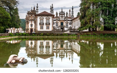 Vila Real, Portugal - April 2018: Pond in the park in front of Mateus palace