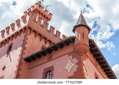 VILADECANS,SPAIN-MAY 13,2017:Artistic architecture,Can Modolell,ancient fortified defense tower.Viladecans,Catalonia,Spain.